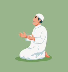 Moslem sit and pray vector