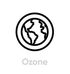 Ozone globe earth icon editable line vector