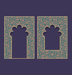 Patterned arched frames in form oriental vector