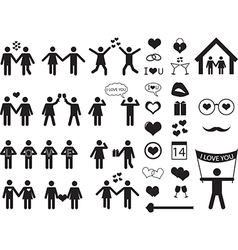 People pictograph for valentine day vector