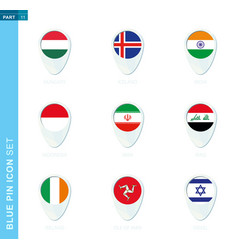 Pin flag set map location icon in blue colors vector