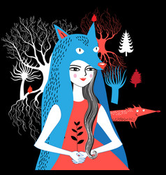 portrait a wolf girl nature vector image