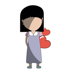 pretty girl with hearts in the hand and dress vector image