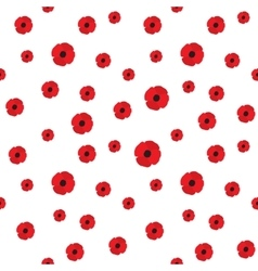 Red Poppy Seamless Pattern vector image