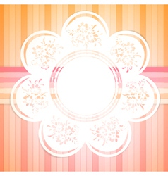Retro round frame with floral elements vector