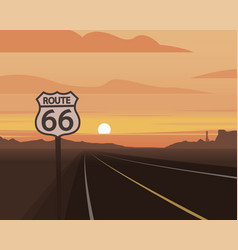 Route 66 and sunset scene vector