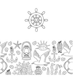 Sea banner hand draw sketch vector