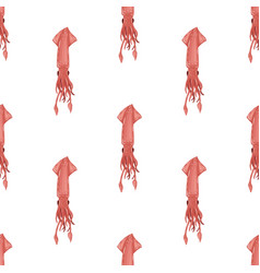seamless pattern with flat pink squid isolated on vector image