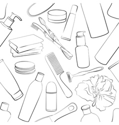Seamless pattern with hygiene set vector image