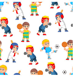 seamless pattern with professional sports vector image