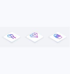 set isometric line balloons with ribbon diamond vector image