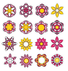 set of cartoon colored flowers vector image