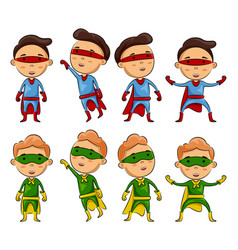 set of kids wearing superheroes costumes vector image