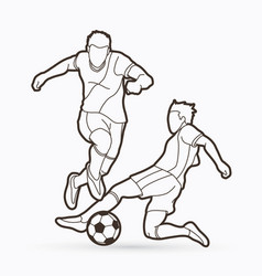 soccer player action outline graphic vector image