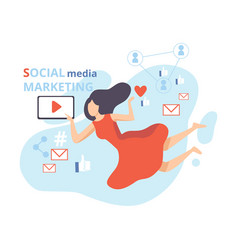 social media marketing young woman working on vector image