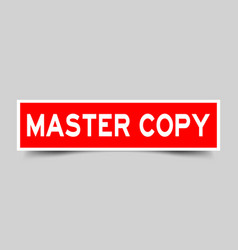 Square red sticker label in word master copy on vector