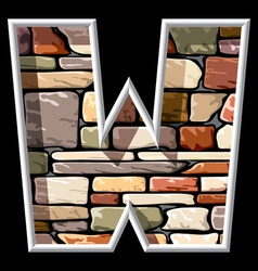 stone letter W vector image