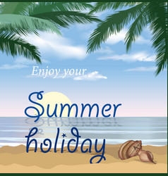 Summer holidays background seaside view poster vector