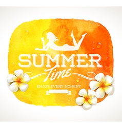 Summer time greeting and frangipani flowers vector image