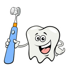 tooth character with toothbrush cartoon vector image