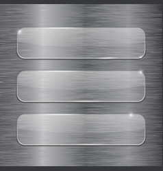transparent glass plates on metal brushed vector image