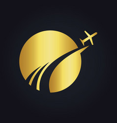 Travel globe abstract plane gold logo vector