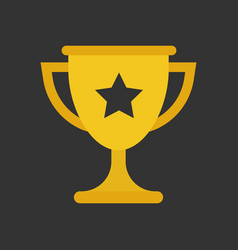 trophy cup flat icon simple winner symbol gold vector image