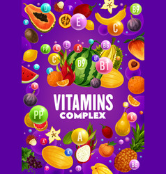 tropical fruits and berries sources vitamins vector image