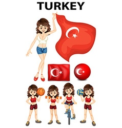 Turkey flag and woman athlete vector image vector image