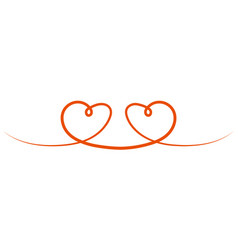 two hearts are drawn to each other a symbol vector image