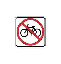 usa traffic road signs no bicycles allowed vector image