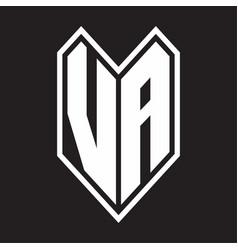 va logo monogram with emblem line style isolated vector image