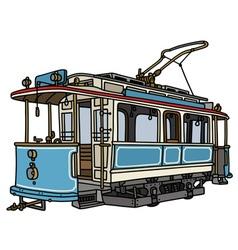 Vintage blue tramway vector