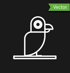 White line pirate parrot icon isolated on black vector