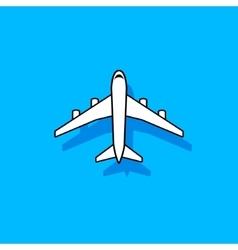 White plane flying over blue sky vector image