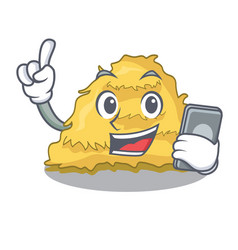 With phone hay bale character cartoon vector
