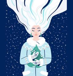 woman like winter season beauty wintertime flat vector image
