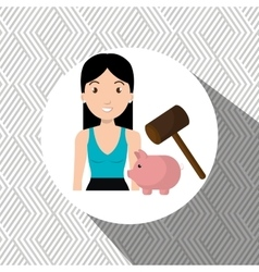 woman piggy saving money vector image
