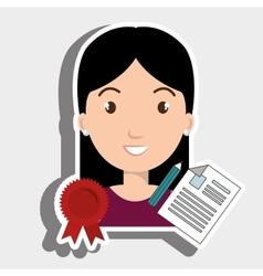 Woman student medal ribbon vector