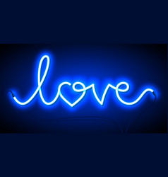 word love neon sign valentines day greeting card vector image