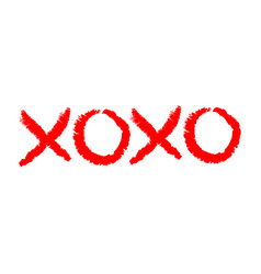 Xoxo phrase sketch saying hugs and kisses happy vector