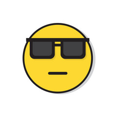 yellow sad face neutral wear sun glasses negative vector image