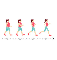young woman before and after slimming vector image