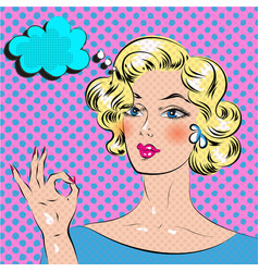 blond haired pop art comics woman with hand ok vector image vector image