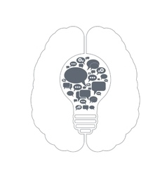 bulb with bubble speech vector image vector image