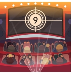 Cinema auditorium with screen and seats vector image