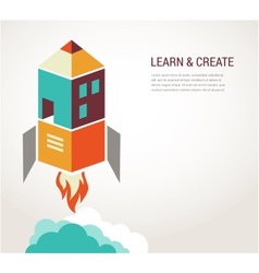 Education rocket online learning concept vector image vector image