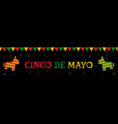 pinata and bunting cinco de mayo party web banner vector image