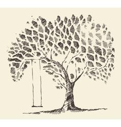 Romantic tree swing hand drawn sketch vector