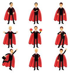 set of business man character in classic black vector image vector image